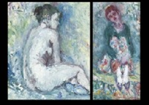 nude in blue interior 2 others various sizes 3 works by shinzo abe