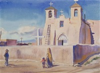 southwestern view (+ 2 others; 3 works, 2 signed) by agnes anne abbot