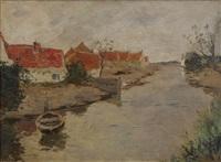vue d'un canal avec un bateau et un village à l'arrière-plan by armand adrien marie apol