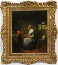 mother and child in a cottage interior by jacob akkersdijk