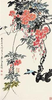 花鸟 立轴 设色纸本 by qiao mu