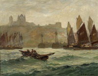 fishing boats at the entrance to whitby harbour with the abbey beyond by joseph richard bagshaw