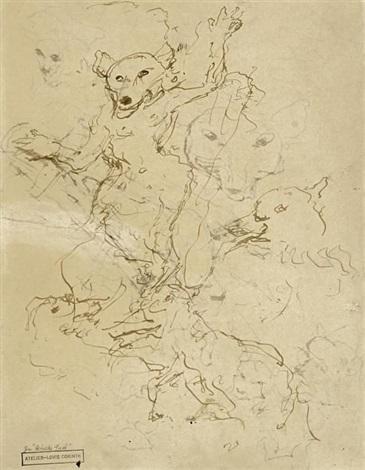 tierstudien reineke fuchs sketch verso by lovis corinth
