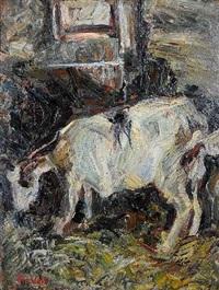ziege im stall (+ sketch, verso) by otto voit