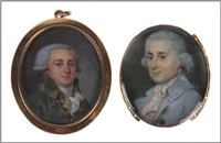 miniature ovale peinte sur ivoire d'un portrait d'un homme noble vêtu d'un manteau bleu clair, d'une cravate blanche et chemise by john smart