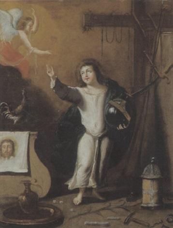 der jesusknabe mit der weltkugel den passionswerkzeugen und einem engel der ihm den kelch reicht by hispano flemish school 17