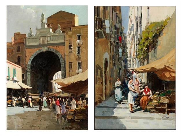 markttreiben vor einem stadttor einer italienischen stadt sowie marktstände mit passanten in einer engen italienischen stadtstrasse mit ansteigenden treppen by a pasini