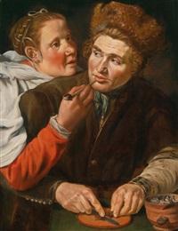 ein mann schneidet tabak und eine frau hält seine pfeife by werner van den valckert