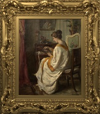 an interior with a lady seated at her desk by alfred victor fournier