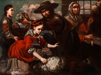 marktszene mit junger kohlverkäuferin und einer alten spinnerin by bernhard keil