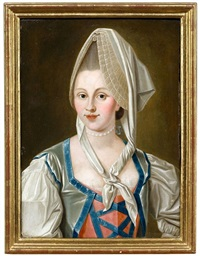 bildnis einer dame mit haube und mit blauen bändern besetztem kleid by isaak juncker