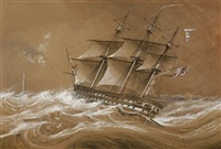 man of war ship by samuel prout hill