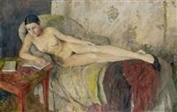 liegender weiblicher akt mit buch auf dem sofa by jeanne marguerite frey-surbek
