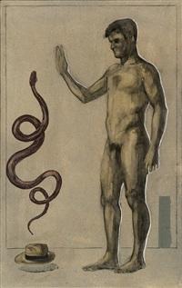 desnudo masculino con serpiente by pepe alfaro