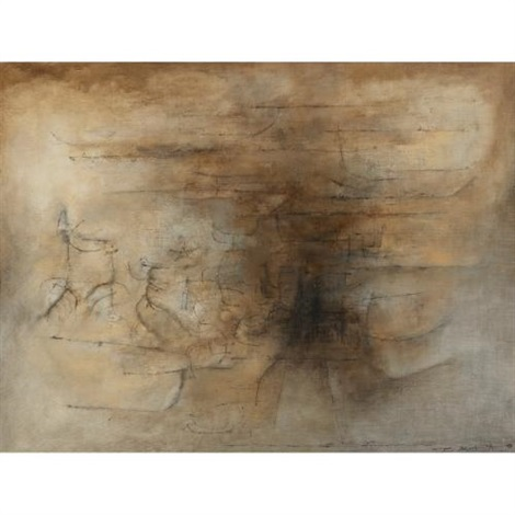 composition bistre noir by zao wou ki
