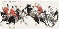 唐人马球图 镜心 设色纸本 (painted in 2003 tang polo diagram) by liu dawei
