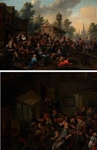 escenas de taberna (pair) by richard brakenburg