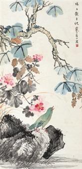 芙蓉翠鸟 立轴 纸本 by jiang hanting