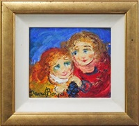 two children & blueberries by david boyd