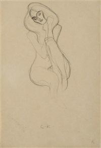 sitzender frauenakt von vorne (seated female nude, frontal view) by gustav klimt