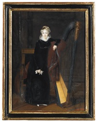portrait of a lady in a black dress with white lace collar, standing beside a harp by louis françois aubry