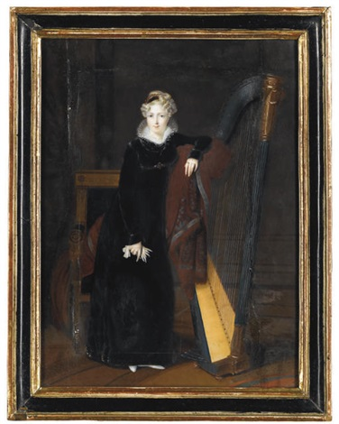 portrait of a lady in a black dress with white lace collar standing beside a harp by louis françois aubry
