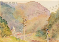road up the mountain, probably a view of crawford notch, new hampshire by minna walker smith