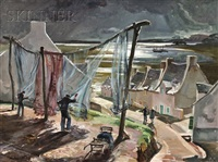 fishermen drying their nets by trafford partridge klots