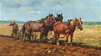 bauer mit drei pferden beim pflügen by marie guise newcomb