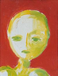 testa fondo rosso by virgilio guidi