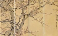寒梅傲骨 通景 (in 4 parts) by luo ping