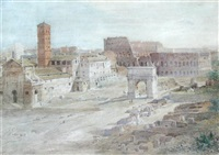 a view of the coliseum and the arch of constantine (from the palace of the caesars, rome) by henry parsons riviere