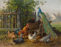 federvieh vor einem bauerngarten by carl jutz the younger