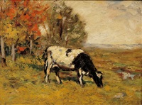 grazing cow by wilbur h. lansil