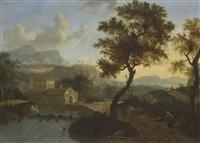 bergige landschaft mit wassermühle by timotheus de graef