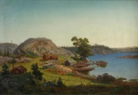 cottages by a fjord by karl august fahlgren