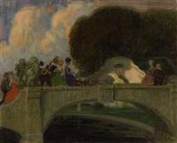 fröhliche gesellschaft auf der brücke im park by theodor baierl