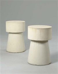 two concrete end tables by scott burton