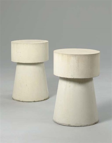 two concrete end tables by scott burton