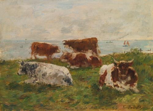 vaches au pré au bord de la mer by eugène boudin