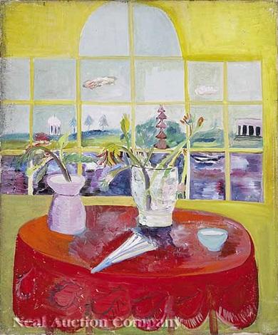 still life, flowers in two vases with fan by hazel guggenheim mckinley