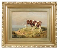 a cow, a sheep and a rabbit on a clifftop by william woodhouse