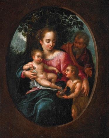 heilige familie mit dem johannesknaben by hendrick de clerck