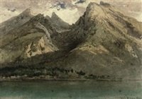 an alpine lake (+ another; 2 works) by carl haag
