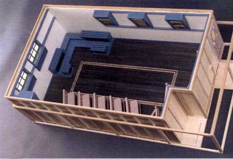 model of the louis kahn lecture room for the felisher art memorial by siah armajani
