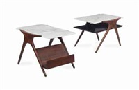double tier end table; magazine table (2 works) by vladimir kagan
