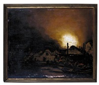 a nocturnal scene with villagers fighting a fire by adam louisz colonia