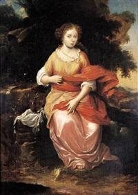 voorname dame in een landschap by zacharias blyhooft