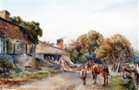 figure and workhorse approaching a forge by arthur reginald smith