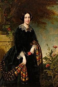 porträtt av ung svartklädd dam med skotskrutig sjal by carl christian vogel von vogelstein
